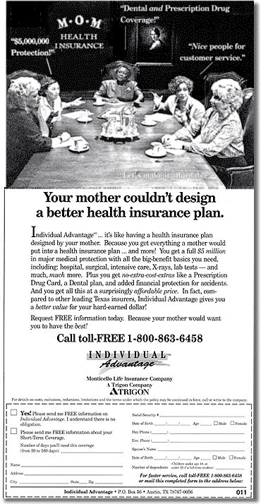 Advertisement for Insurance Company